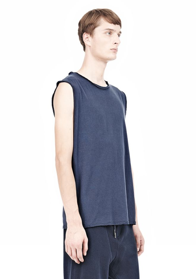 T by ALEXANDER WANG PIGMENT DYED COTTON JERSEY SILK NECK TRIM MUSCLE T TOP Adult 12_n_a