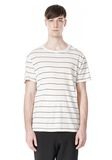 T by ALEXANDER WANG LINEN STRIPE SHORT SLEEVE TEE TOP Adult 8_n_e