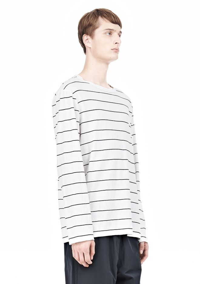 T by ALEXANDER WANG LINEN STRIPE LONG SLEEVETEE TOP Adult 12_n_a