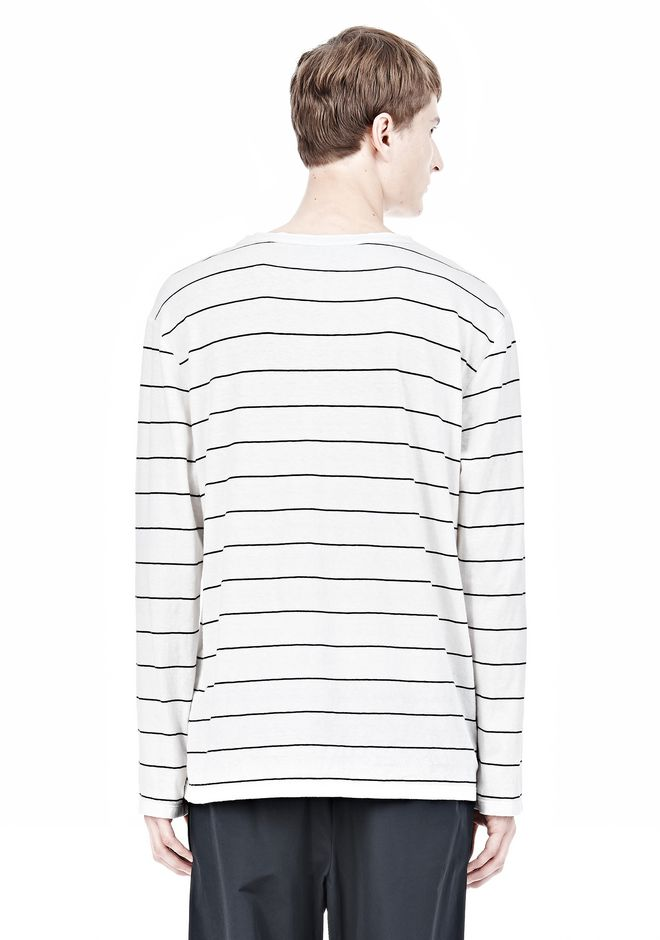 T by ALEXANDER WANG LINEN STRIPE LONG SLEEVETEE TOP Adult 12_n_d