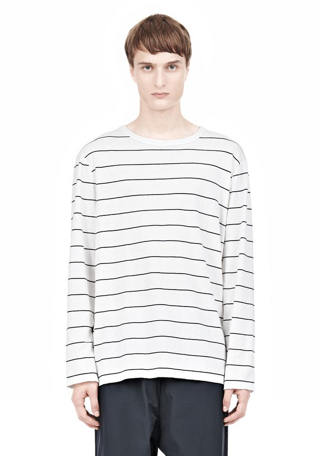 T by ALEXANDER WANG LINEN STRIPE LONG SLEEVETEE TOP Adult 12_n_e