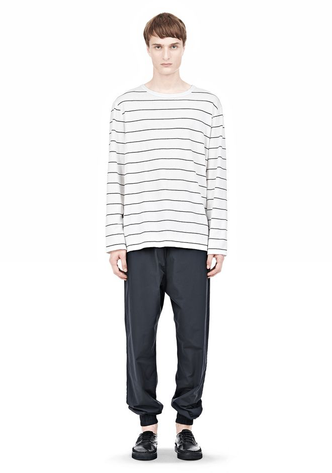 T by ALEXANDER WANG LINEN STRIPE LONG SLEEVETEE TOP Adult 12_n_f