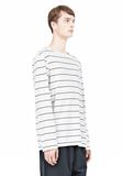 T by ALEXANDER WANG LINEN STRIPE LONG SLEEVETEE TOP Adult 8_n_a