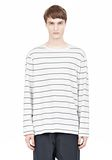 T by ALEXANDER WANG LINEN STRIPE LONG SLEEVETEE TOP Adult 8_n_e