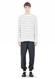 T by ALEXANDER WANG LINEN STRIPE LONG SLEEVETEE TOP Adult 8_n_f