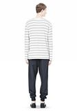 T by ALEXANDER WANG LINEN STRIPE LONG SLEEVETEE TOP Adult 8_n_r