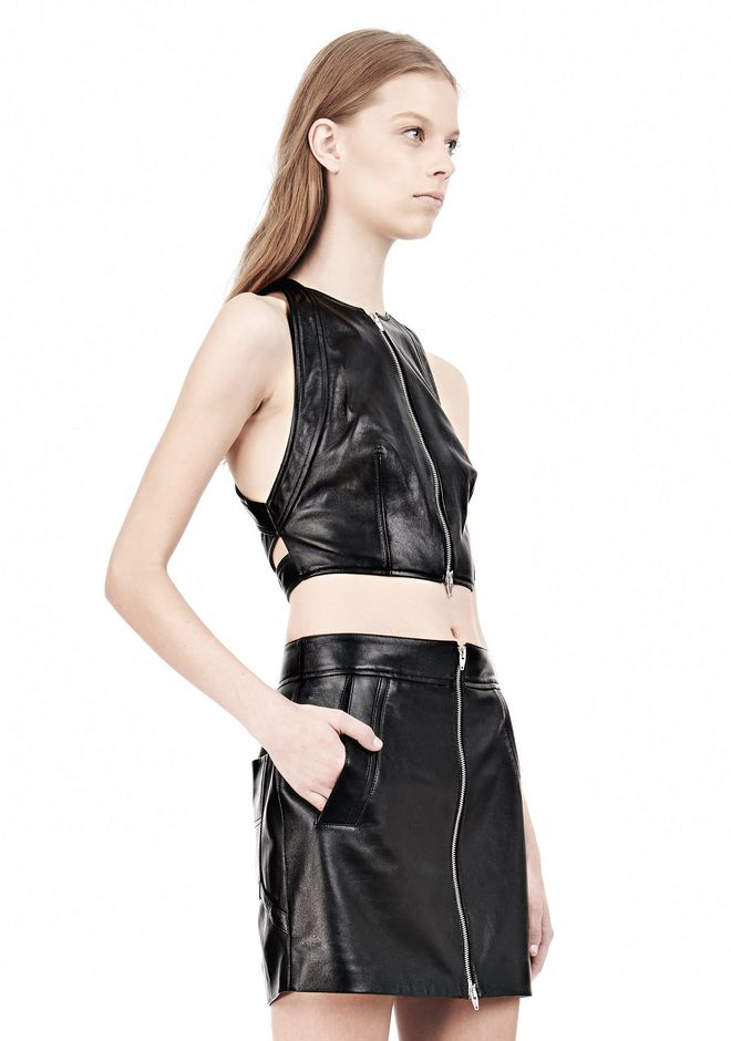 T by ALEXANDER WANG LEATHER PINAFORE TWO-WAY ZIP CRISSCROSS BACK TANK TOP Adult 12_n_a