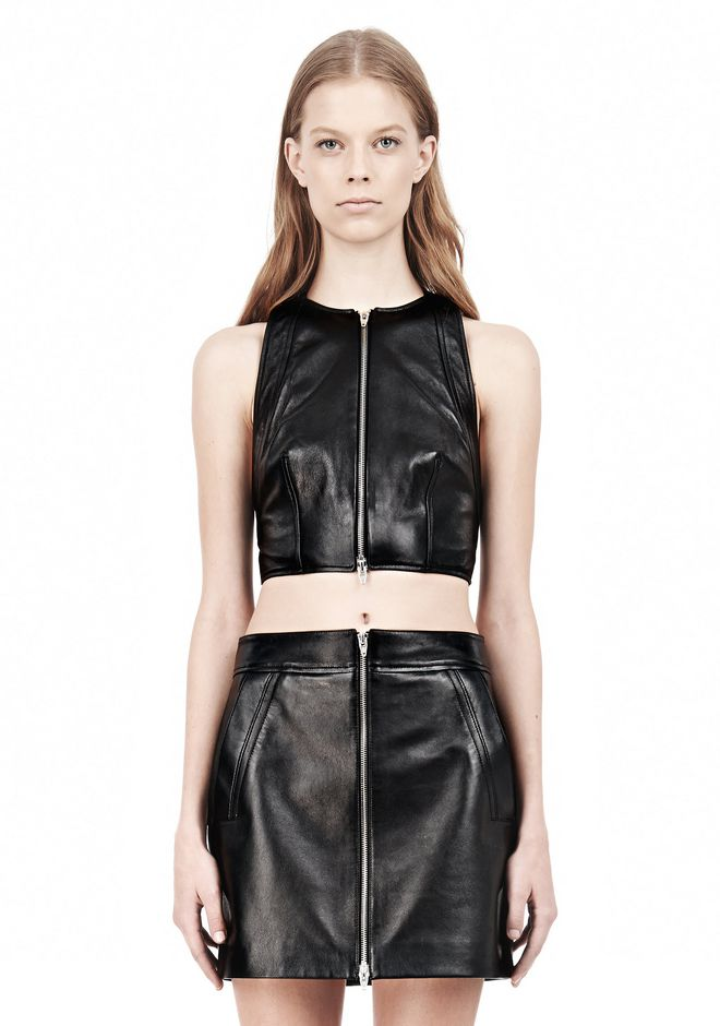 T by ALEXANDER WANG LEATHER PINAFORE TWO-WAY ZIP CRISSCROSS BACK TANK TOP Adult 12_n_e