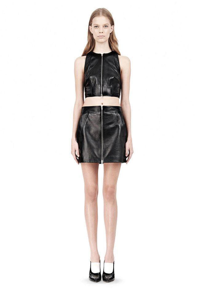 T by ALEXANDER WANG LEATHER PINAFORE TWO-WAY ZIP CRISSCROSS BACK TANK TOP Adult 12_n_f