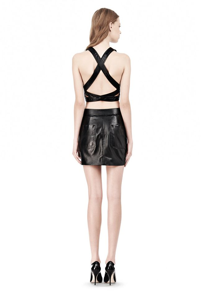T by ALEXANDER WANG LEATHER PINAFORE TWO-WAY ZIP CRISSCROSS BACK TANK TOP Adult 12_n_r