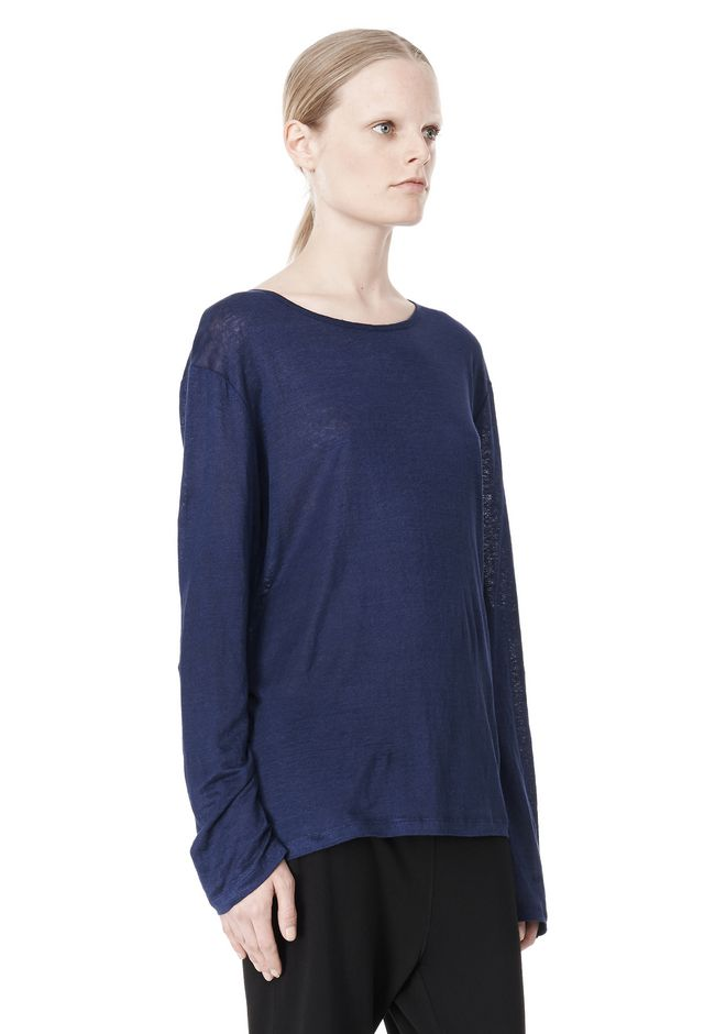 T by ALEXANDER WANG LINEN SILK JERSEY LONG SLEEVE TEE TOP Adult 12_n_a