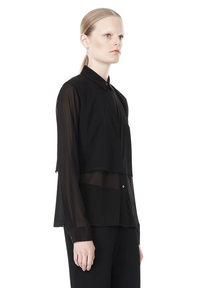 T by ALEXANDER WANG FRAYED SILK CHIFFON LONG SLEEVE SHIRT Shirt/del Adult 12_n_a