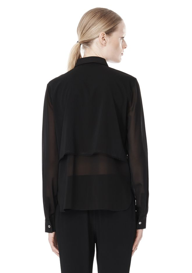 T by ALEXANDER WANG FRAYED SILK CHIFFON LONG SLEEVE SHIRT Shirt/del Adult 12_n_d
