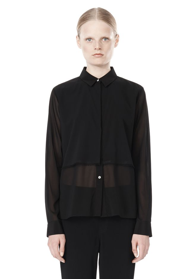 T by ALEXANDER WANG FRAYED SILK CHIFFON LONG SLEEVE SHIRT Shirt/del Adult 12_n_e
