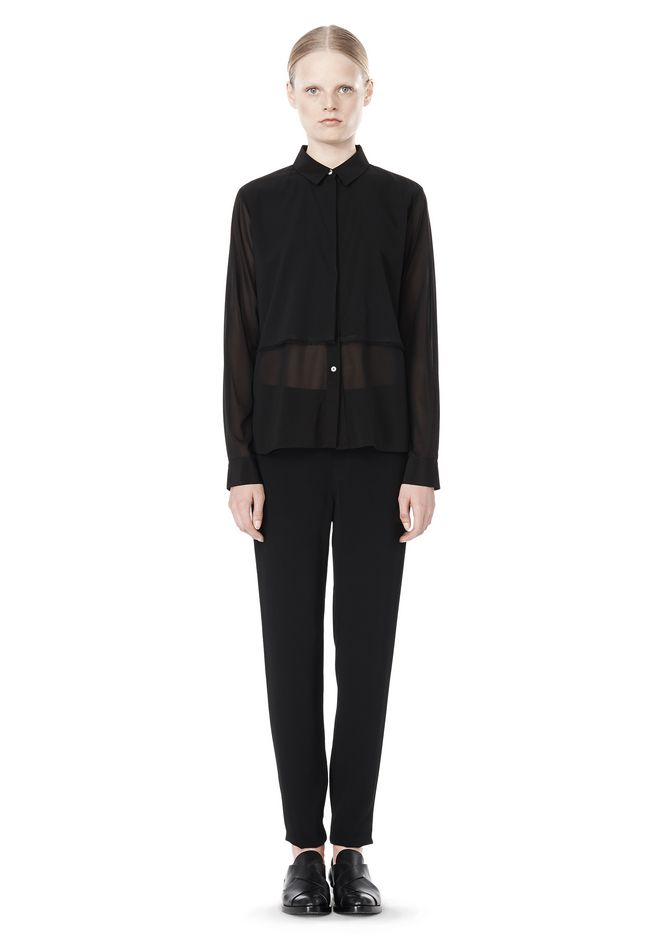 T by ALEXANDER WANG FRAYED SILK CHIFFON LONG SLEEVE SHIRT Shirt/del Adult 12_n_f