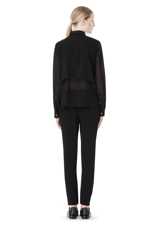 T by ALEXANDER WANG FRAYED SILK CHIFFON LONG SLEEVE SHIRT Shirt/del Adult 12_n_r