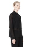 T by ALEXANDER WANG FRAYED SILK CHIFFON LONG SLEEVE SHIRT Shirt/del Adult 8_n_a