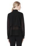 T by ALEXANDER WANG FRAYED SILK CHIFFON LONG SLEEVE SHIRT Shirt/del Adult 8_n_d