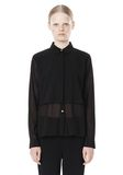 T by ALEXANDER WANG FRAYED SILK CHIFFON LONG SLEEVE SHIRT Shirt/del Adult 8_n_e