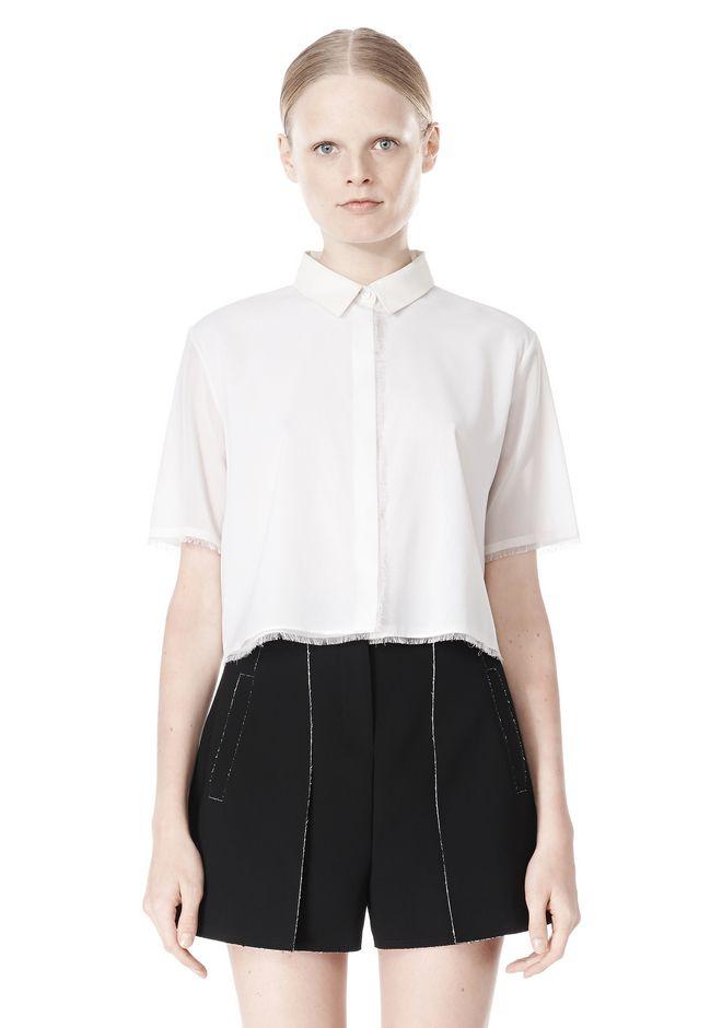 Alexander Wang Frayed Silk Chiffon Short Sleeve Shirt