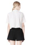 T by ALEXANDER WANG FRAYED SILK CHIFFON SHORT SLEEVE SHIRT Shirt Adult 8_n_d