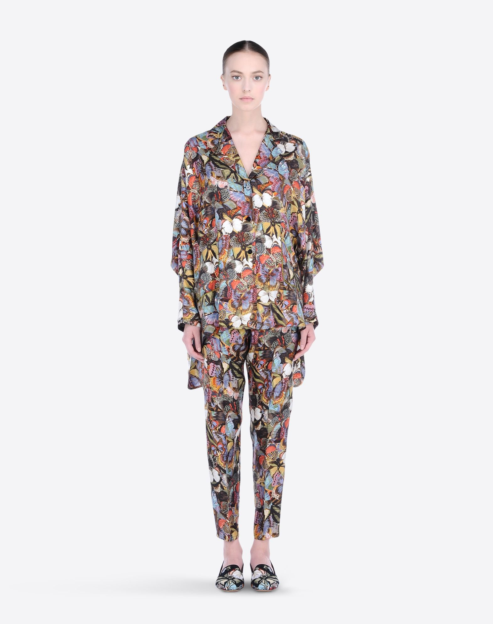 VALENTINO Cotton twill Multicolor Pattern Lapel collar Two pockets Button closing Side slit hemline Long sleeves  37577531of