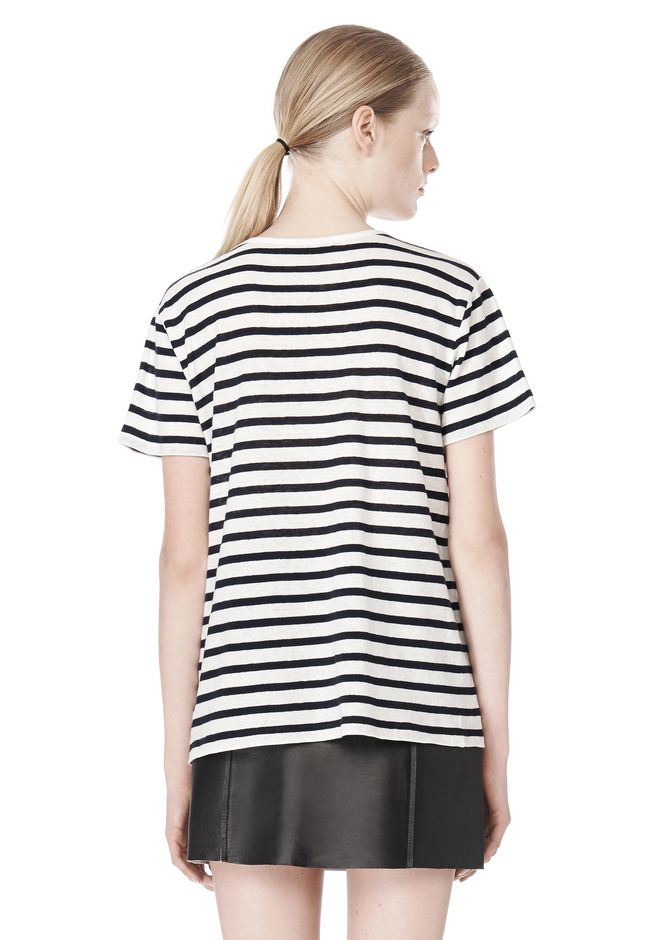 T by ALEXANDER WANG STRIPE LINEN COTTON TEE TOP Adult 12_n_d