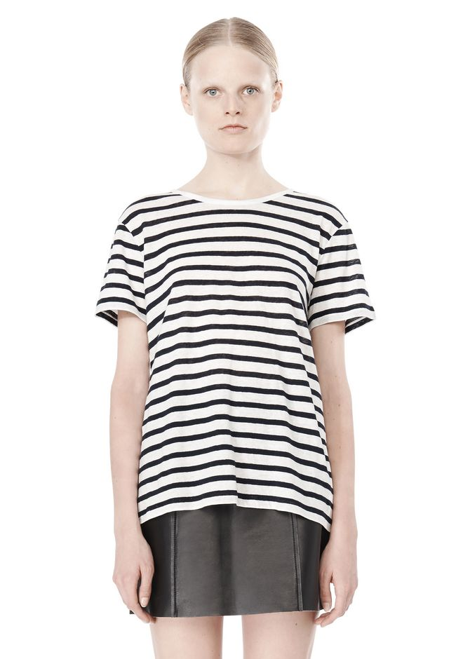 T by ALEXANDER WANG STRIPE LINEN COTTON TEE TOP Adult 12_n_e