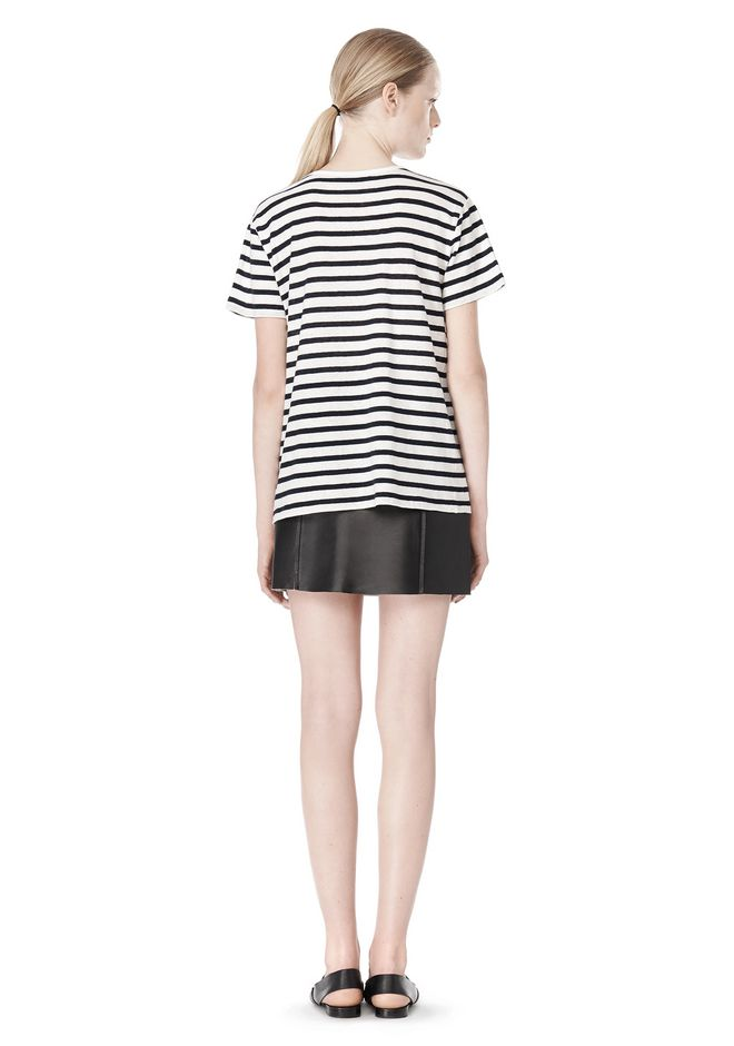 T by ALEXANDER WANG STRIPE LINEN COTTON TEE TOP Adult 12_n_r