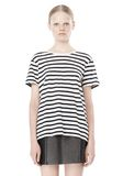 T by ALEXANDER WANG STRIPE LINEN COTTON TEE TOP Adult 8_n_e