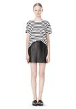 T by ALEXANDER WANG STRIPE LINEN COTTON TEE TOP Adult 8_n_f