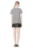 T by ALEXANDER WANG STRIPE LINEN COTTON TEE TOP Adult 8_n_r