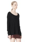T by ALEXANDER WANG PIMA COTTON LOW NECK LONG SLEEVE TEE TOP Adult 8_n_a