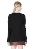 T by ALEXANDER WANG PIMA COTTON LOW NECK LONG SLEEVE TEE TOP Adult 8_n_d