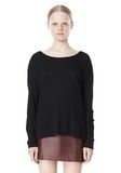 T by ALEXANDER WANG PIMA COTTON LOW NECK LONG SLEEVE TEE TOP Adult 8_n_e