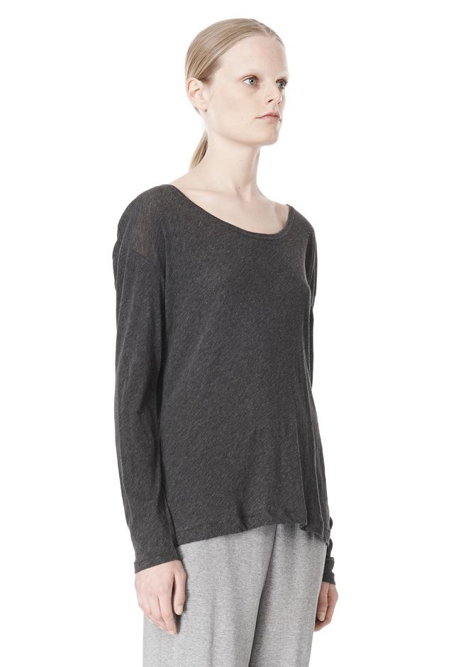 T by ALEXANDER WANG PIMA COTTON LOW NECK LONG SLEEVE TEE TOP Adult 12_n_a