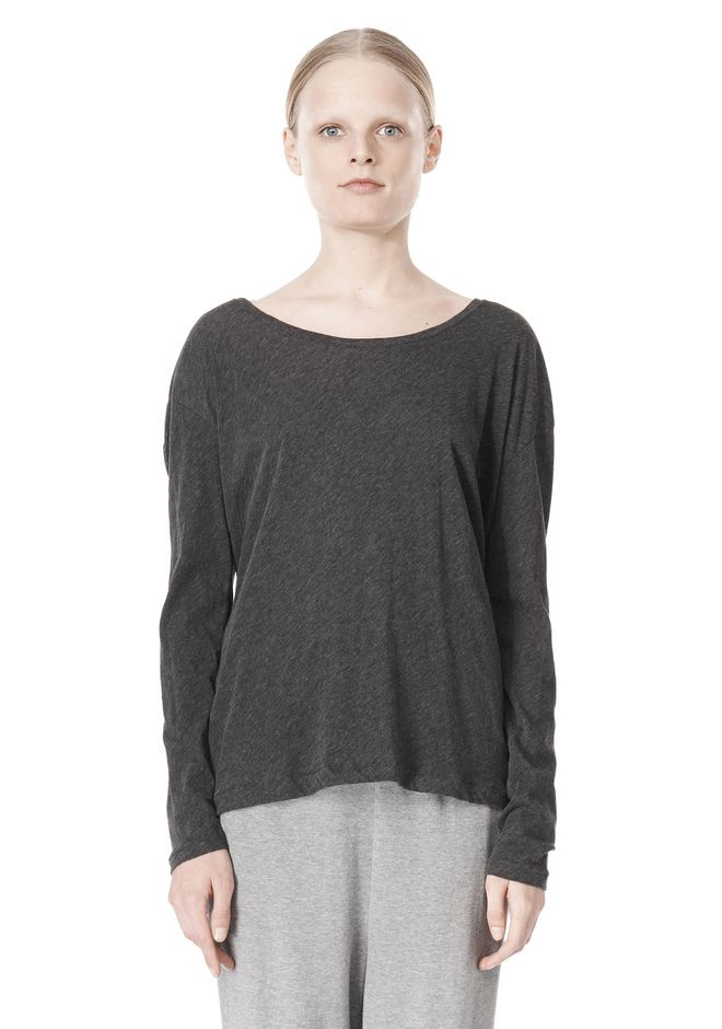 T by ALEXANDER WANG PIMA COTTON LOW NECK LONG SLEEVE TEE TOP Adult 12_n_e