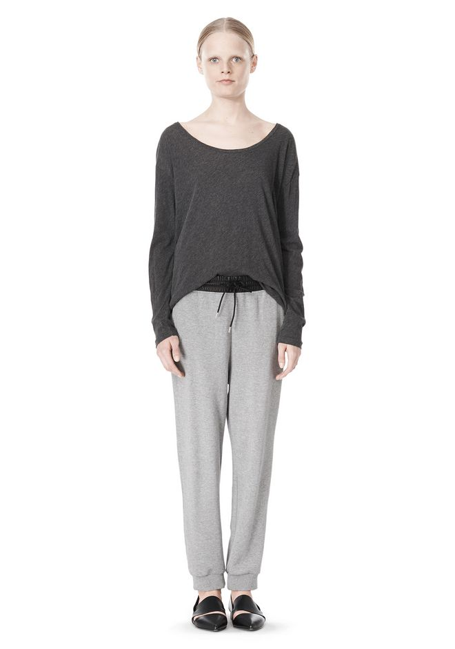 T by ALEXANDER WANG PIMA COTTON LOW NECK LONG SLEEVE TEE TOP Adult 12_n_f