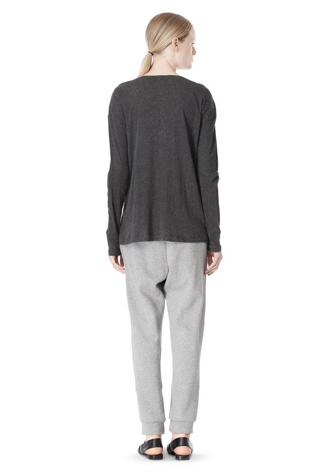 T by ALEXANDER WANG PIMA COTTON LOW NECK LONG SLEEVE TEE TOP Adult 12_n_r