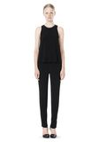 T by ALEXANDER WANG VISCOSE CREPE TOP WITH LEATHER TRIM TOP Adult 8_n_f