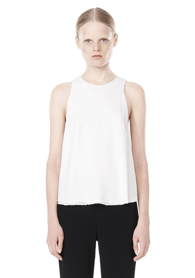T by ALEXANDER WANG VISCOSE CREPE TOP WITH LEATHER TRIM TOP Adult 12_n_e