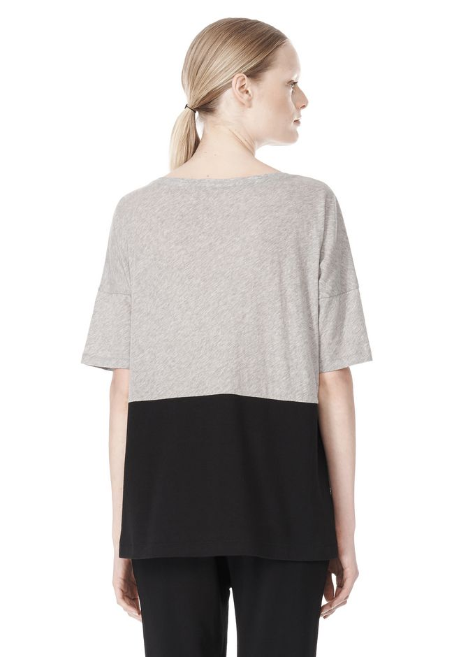 T by ALEXANDER WANG PIMA COTTON & DOUBLE KNIT COMBO TEE TOP Adult 12_n_d