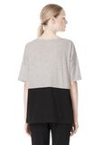 T by ALEXANDER WANG PIMA COTTON & DOUBLE KNIT COMBO TEE TOP Adult 8_n_d