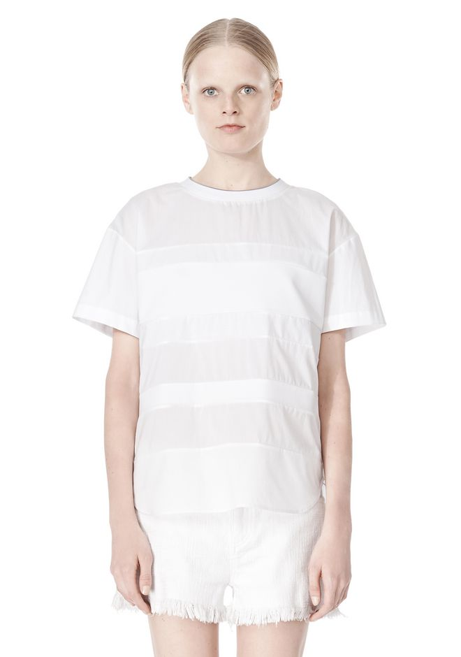 T by ALEXANDER WANG COTTON POPLIN VOILE & DOBBY STRIPE TEE TOP Adult 12_n_e