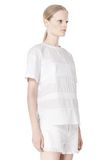 T by ALEXANDER WANG COTTON POPLIN VOILE & DOBBY STRIPE TEE TOP Adult 8_n_a