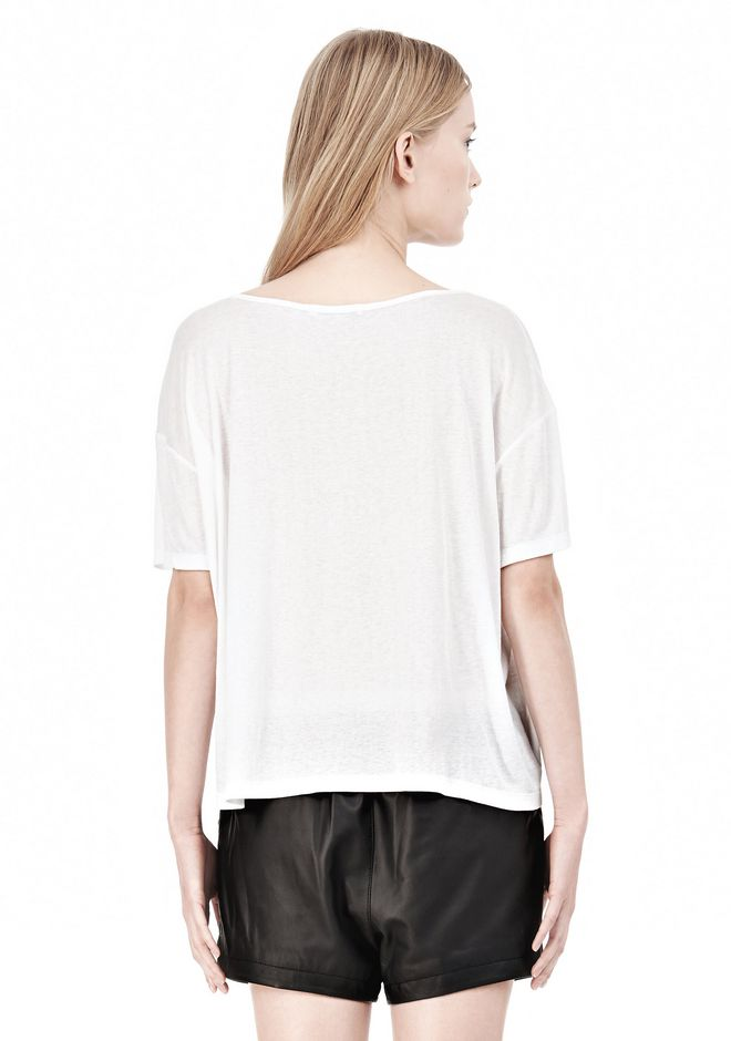 T by ALEXANDER WANG SOFT MELANGE JERSEY SCOOP NECK TEE TOP Adult 12_n_d