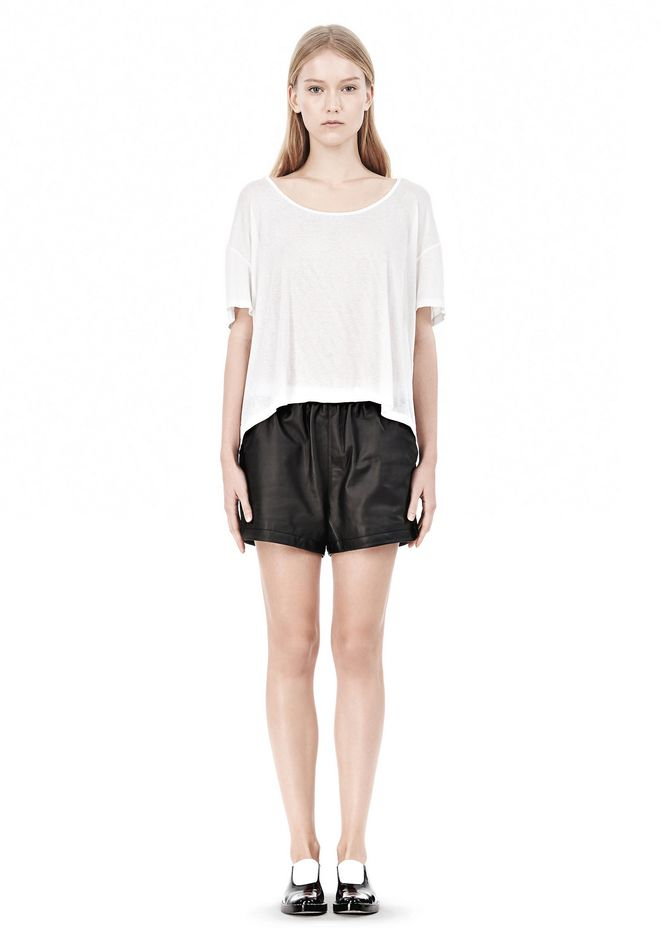 T by ALEXANDER WANG SOFT MELANGE JERSEY SCOOP NECK TEE TOP Adult 12_n_f