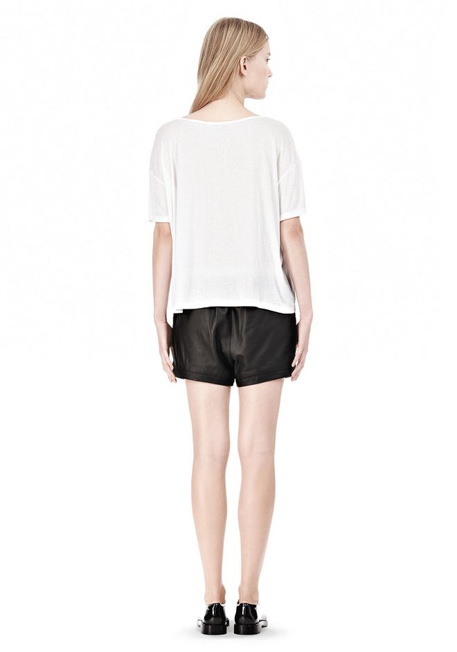 T by ALEXANDER WANG SOFT MELANGE JERSEY SCOOP NECK TEE TOP Adult 12_n_r