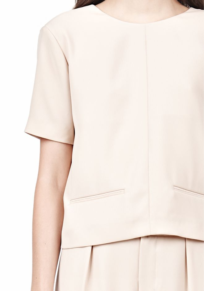 T by ALEXANDER WANG DRAPE SUITING V BACK SHORT SLEEVE TOP TOP Adult 12_n_a