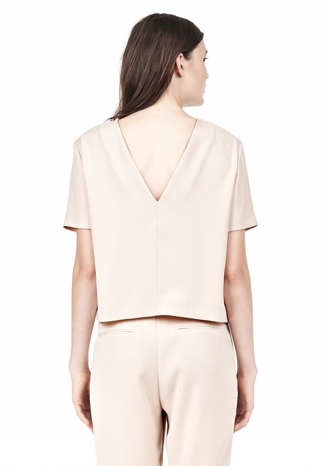 T by ALEXANDER WANG DRAPE SUITING V BACK SHORT SLEEVE TOP TOP Adult 12_n_d